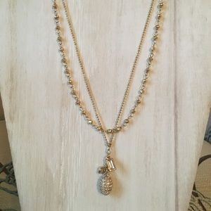 """Gold double strand necklace 19"""""""